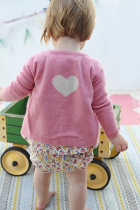 V Neck Cardigan Heart Rose