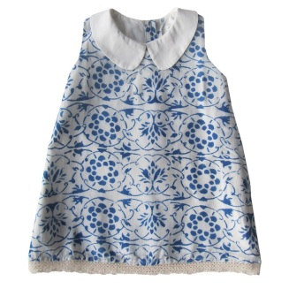 A line Rustic Cotton Dress w Peter Pan Collar (fully lined)